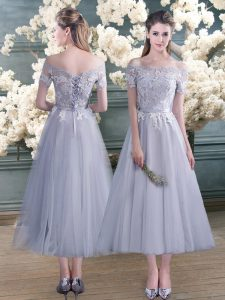 Grey Short Sleeves Ankle Length Lace and Appliques Lace Up Pageant Gowns