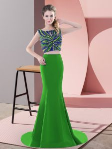 Fitting Green Evening Gowns Scoop Sleeveless Sweep Train Backless