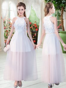 Exquisite White Sleeveless Tulle Zipper Pageant Dress Toddler for Prom and Party