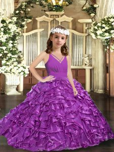 Excellent V-neck Sleeveless Pageant Dress for Girls Floor Length Ruffles and Ruching Purple Organza