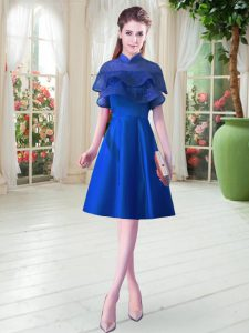 Ruffled Layers Pageant Dress for Womens Royal Blue Lace Up Cap Sleeves Knee Length