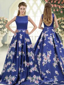Royal Blue Sleeveless Brush Train Beading and Pattern Glitz Pageant Dress