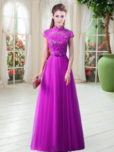 Floor Length Lace Up Pageant Gowns Purple for Prom and Party and Military Ball with Appliques and Belt