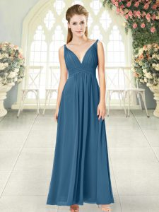 Blue Sleeveless Chiffon Backless Pageant Dresses for Prom and Party