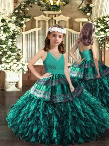 Turquoise Zipper Pageant Dress Appliques and Ruffles Sleeveless Floor Length