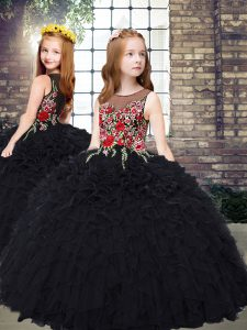 Top Selling Sleeveless Zipper Floor Length Embroidery and Ruffles Pageant Dress Womens