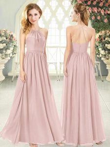 Sleeveless Chiffon Floor Length Criss Cross Glitz Pageant Dress in Pink with Ruching