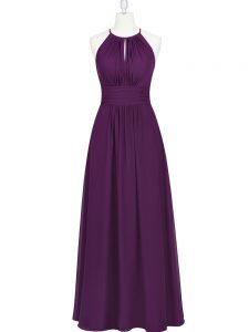Charming Purple Pageant Gowns Prom and Party with Ruching Halter Top Sleeveless