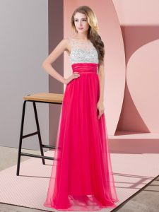 Gorgeous Coral Red Pageant Dress Prom and Party and Military Ball with Sequins Scoop Sleeveless Side Zipper