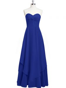 Royal Blue Chiffon Zipper Sweetheart Sleeveless Floor Length Pageant Dress for Teens Pleated