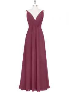 Burgundy Empire Chiffon V-neck Sleeveless Ruching and Pleated Floor Length Backless Pageant Dress for Teens