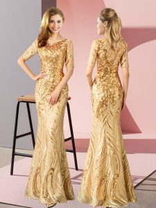 Scoop Half Sleeves Zipper Sequins High School Pageant Dress in Gold