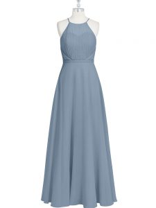 Grey Sleeveless Ruching and Pleated Floor Length Winning Pageant Gowns