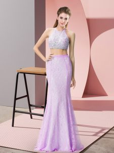 Colorful Lilac Backless Halter Top Beading and Lace Pageant Dress for Teens Lace Sleeveless