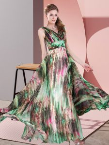 Multi-color Printed Lace Up Pageant Dress Womens Sleeveless Floor Length Pattern