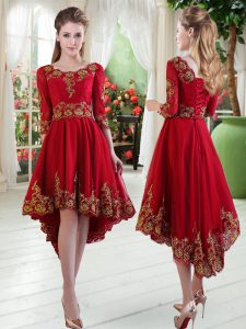 Graceful Wine Red Scoop Lace Up Embroidery Custom Made Pageant Dress Long Sleeves