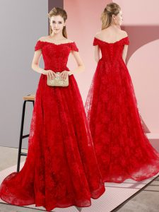 Trendy Red A-line Beading and Lace Pageant Dress Wholesale Lace Up Tulle Sleeveless