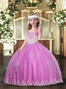 Luxurious Lilac Sleeveless Appliques Floor Length Pageant Dress for Teens