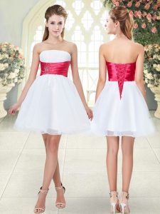 Lovely White Organza Lace Up Pageant Dress Womens Sleeveless Mini Length Beading