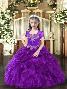 Fashionable Straps Sleeveless Winning Pageant Gowns Floor Length Beading and Ruffles Purple Organza