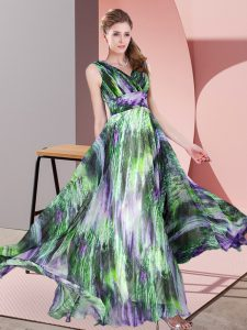 Excellent V-neck Sleeveless Printed Evening Gowns Pattern Lace Up