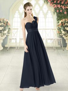 Stylish Chiffon One Shoulder Sleeveless Zipper Hand Made Flower Pageant Dress Wholesale in Black