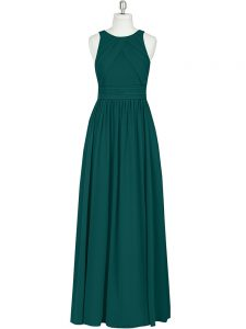 Dark Green Custom Made Pageant Dress Prom and Party with Ruching Scoop Sleeveless Zipper