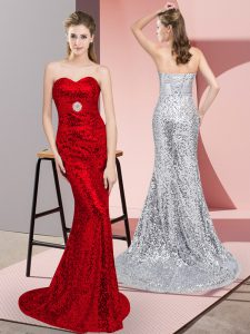 Red Sleeveless Sweep Train Belt Evening Gowns