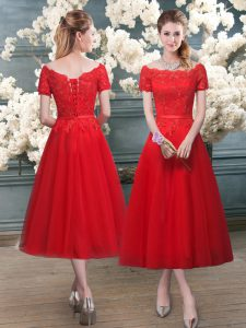 Off The Shoulder Short Sleeves Lace Up Pageant Dresses Red Tulle