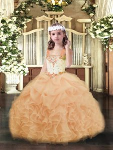 Peach Straps Neckline Beading and Ruffles and Pick Ups Kids Pageant Dress Sleeveless Lace Up