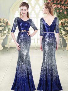 Floor Length Royal Blue Pageant Dress Wholesale V-neck Half Sleeves Zipper