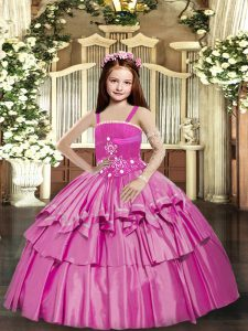 Simple Sleeveless Floor Length Beading and Ruffled Layers Lace Up Winning Pageant Gowns with Lilac