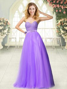 Best Sweetheart Sleeveless Pageant Dresses Floor Length Beading and Lace Lavender Tulle