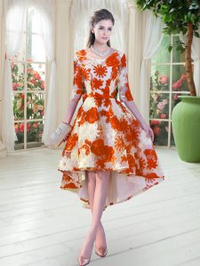 Clearance High Low A-line Half Sleeves Orange Red Custom Made Pageant Dress Lace Up