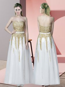 White Pageant Dress Wholesale Prom and Party with Beading Sweetheart Sleeveless Zipper