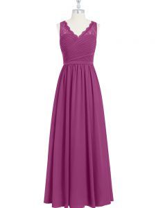 Fuchsia Chiffon Backless V-neck Sleeveless Floor Length Pageant Gowns Lace and Ruching