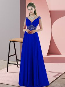 Popular Beading and Pick Ups Winning Pageant Gowns Blue Backless Sleeveless Sweep Train