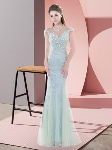 Simple Blue Tulle Zipper Scoop Cap Sleeves Floor Length Pageant Gowns Beading