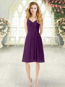 New Arrival Purple Chiffon Zipper Straps Sleeveless Knee Length Pageant Dress for Teens Ruching