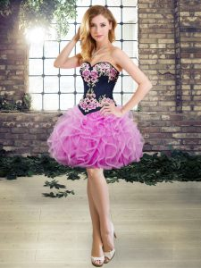 Super Mini Length Lilac Glitz Pageant Dress Tulle Sleeveless Embroidery and Ruffles