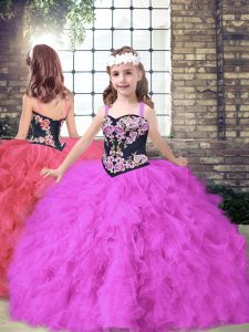 Tulle Straps Sleeveless Lace Up Embroidery and Ruffles Pageant Dress for Girls in Fuchsia