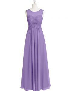 Sleeveless Floor Length Ruching Zipper Pageant Dress Wholesale with Lavender