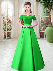 Custom Made Green Off The Shoulder Neckline Belt Pageant Dress Wholesale Short Sleeves Lace Up