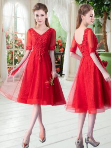 Affordable Half Sleeves Tulle Knee Length Lace Up Glitz Pageant Dress in Red with Beading and Appliques