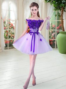 Comfortable Lavender Tulle Lace Up Off The Shoulder Sleeveless Mini Length Evening Gowns Beading and Appliques