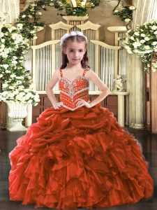 Top Selling Organza Straps Sleeveless Lace Up Beading and Ruffles Evening Gowns in Rust Red