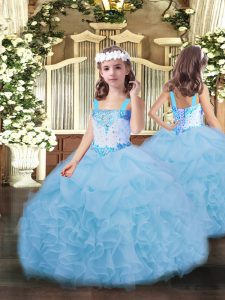 Straps Sleeveless Lace Up Little Girls Pageant Gowns Blue Organza