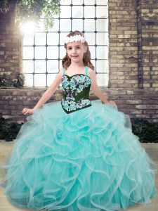 Aqua Blue Ball Gowns Straps Sleeveless Tulle Floor Length Lace Up Embroidery and Ruffles Pageant Gowns