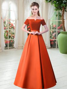 Short Sleeves Floor Length Belt Lace Up Evening Gowns with Orange Red