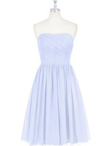 Light Blue Empire Chiffon Strapless Sleeveless Ruching and Pleated Knee Length Side Zipper Pageant Dresses